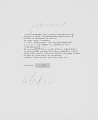 Uecker Günther, Folder. Kein Fehler im System