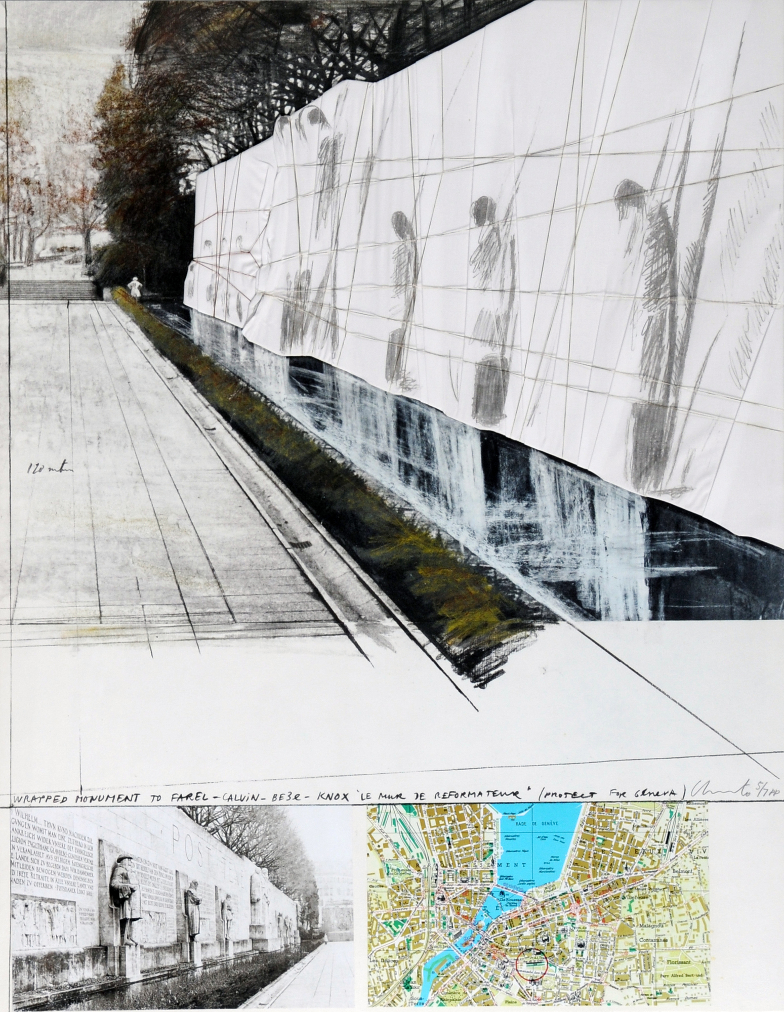 Christo, Wrapped Mur des Reformateurs, Project for Geneva