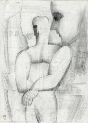 Cahn Marcelle, Two Figures (Dessin cubiste)