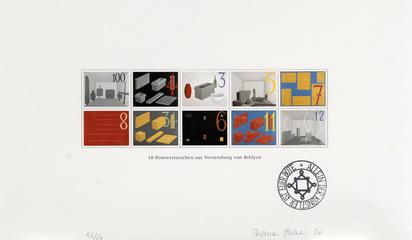 Huber Thomas, Portfolio. 10 Postwertzeichen zur Versendung von Bildern