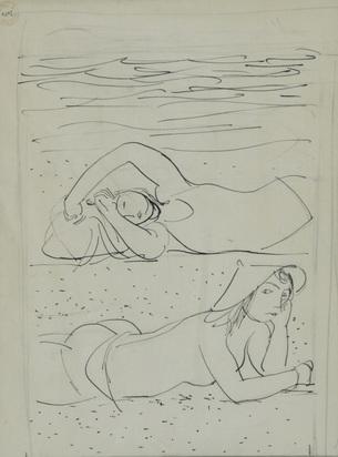 Barraud Maurice, Deux femmes à la plage