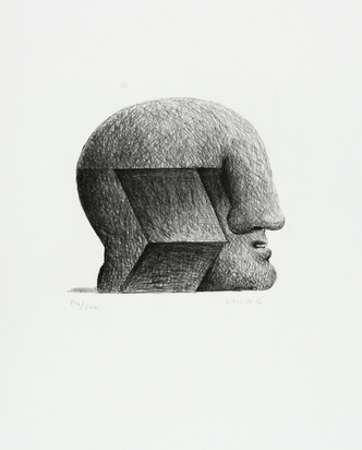 """Antes Horst, Head, 1970, from """"Graphikmappe des Schweizerischen Kunstvereins"""""""
