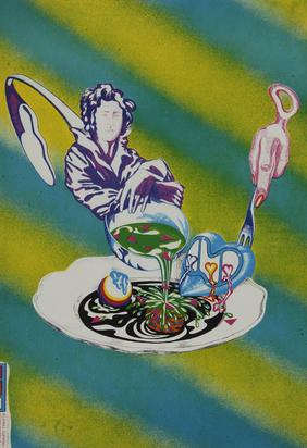 Attersee Christian Ludwig, 3 Blätter: Kleines Suppenschöpferbild, 1968; Schwule Palette, 1972; Plakat. Kulinarische Poesie Rühm Attersee, Im Alten Migros Grenchen, 1974