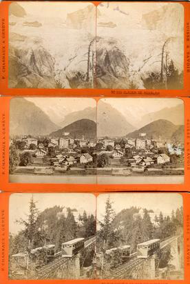 Fotografie 19./20.Jh., Original-Stereoskop und Stereotypien: Berglandschafts- und Stadtmotive aus der Schweiz, sowie vereinzelte aus New York von Bert & Elmer Underwood