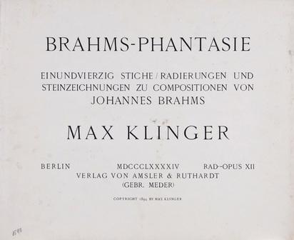 Klinger Max, Portfolio. Brahmsphantasie