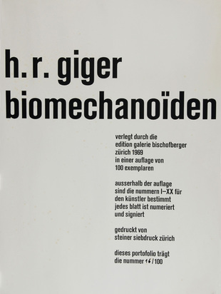 Giger H.R., Portfolio. Biomechanoiden