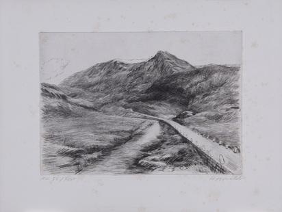 """Amiet Cuno, 4 sheets: Hinterstock-Schlucht; Handegg; Am Hinterstock; Strassenbild, from """"Schönheiten der Alpenstrassen, 2. Folge"""""""