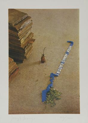 """Beuys Joseph, 6 sheets: Luftpost, 1971; Vitex agnus castus, 1973; Iphigenie, 1973; Eurasienstab, 1973; Sheet from """"Fettbriefe"""", 1973; Cosmos und Damian, 1974"""