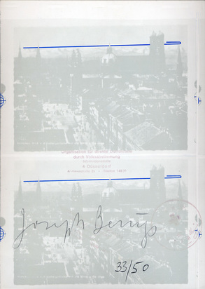 Beuys Joseph, 2 Blätter: Eurasienstab über den Alpen, 1972; Bonnefanten, 1977