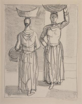 "Barraud Maurice, 2 Blätter: Porteuses de fleures; Saltimbanques, aus ""Kunstmappe zur Schweizerischen Landesausstellung"", 1939"
