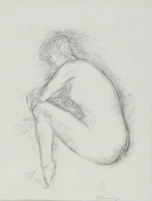 Bänninger Otto Charles, Sitting Female Nude in Profile View