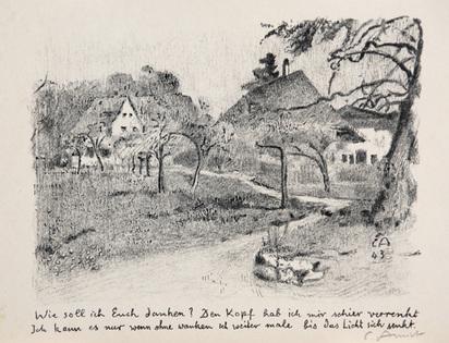 Amiet Cuno, 3 sheets: Haus des Malers, 1944; Wohnhaus des Künstlers auf der Oschwand, 1955; Landschaft mit Bäumen