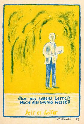 Amiet Cuno, 4 sheets: Rose, 1947; Selbstbildnis am Zeichentisch mit Frau, 1950; Selbstbildnis im Spiegel, 1956; Selbstbildnis stehend mit Zeichenblock, 1960