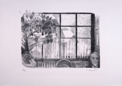 Amiet Cuno, Blick aus dem Atelierfenster mit Selbstbildnis, 1954