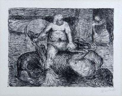 """Barlach Ernst, Besenbein auf dem toten Rosse Herzhorn I, from """"Der tote Tag"""", 1912."""