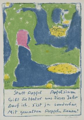 Amiet Cuno, 2 sheets: Obsternte, 1957; Selbstbildnis stehend mit Zeichenblock