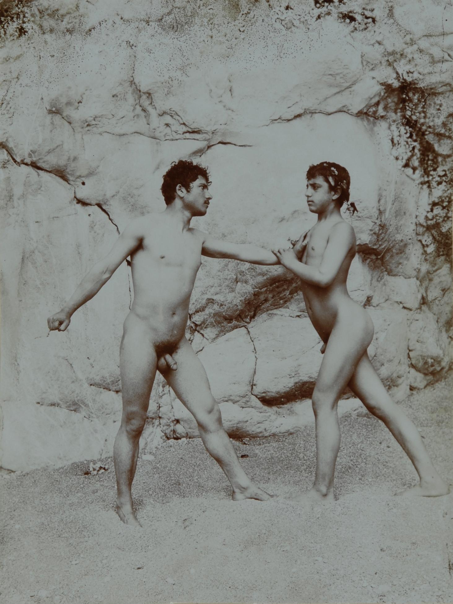 Gloeden Wilhelm von, 2 photographs: Zwei sizilianische Jünglinge beim Kampf; Rückenakt eines sizilianischen Jünglings