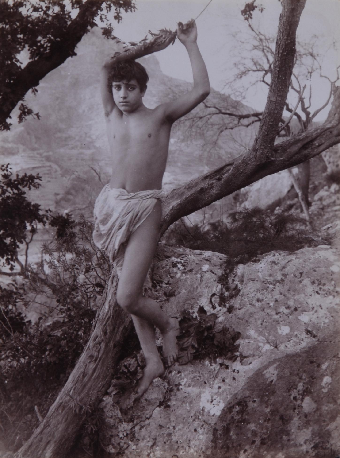 Gloeden Wilhelm von, 2 photographs: Sizilianischer Jüngling in der Natur; Porträt eines sizilianischen Jünglings