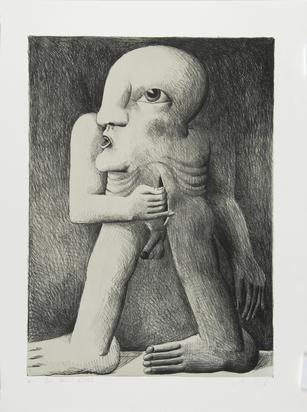 Antes Horst, 2 sheets: Stillleben mit Leiter, Kugel und Rohr, 1970; Figur mit 2 Wunden