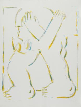 Antes Horst, 2 sheets: Figur mit gekreuzten Armen, 1966; Grosse helle Figure