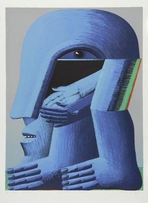 Antes Horst, 2 sheets: Figur mit 2 Glasscheiben am Tisch, 1971; Blauer Kopf (ganze Figur)