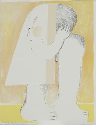 """Antes Horst, 2 sheets: Sheet from """"Anrufung zum Preis einer Königin"""", 1965/66; Graue Figur"""