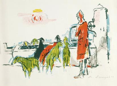 Carigiet Alois, 2 sheets: Schafhirtin, 1954; Begegnung auf Kos, 1962