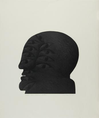 Antes Horst, 2 sheets: Kopf mit 12 Augen, 1970; Ocker Porträt mit weisser Maske