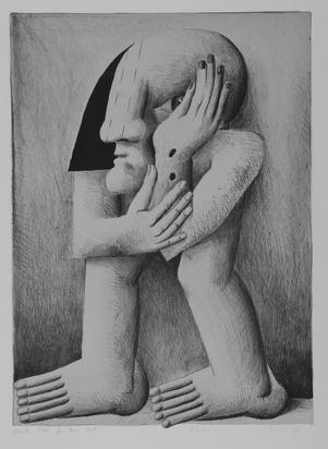 Antes Horst, 2 Blätter: Figur mit zwei Wunden, 1970; Porträt mit blauer Kugel