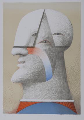 """Antes Horst, 2 Blätter: Blatt aus """"Anrufung zum Preis einer Königin"""", 1965/66; Porträt dreiäugig"""