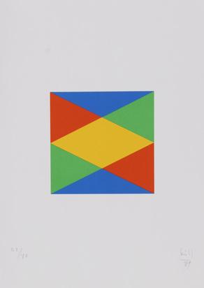Bill Max, Portfolio. Vier quantengleiche Variationen aus blau und gelb wird rot und grün