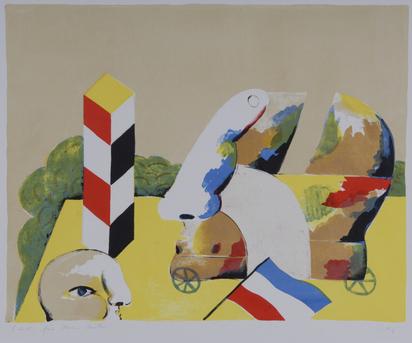 Antes Horst, 2 Blätter: Kopf auf Rädern, 1967; Zürcher-Kopf