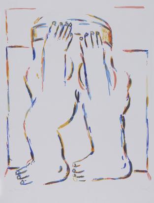 Antes Horst, 2 Blätter: Figur mit erhobenen Armen, 1966; Weibliche Figur mit Boa