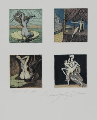 Fuchs Ernst, 2 sheets: Adams Zerstörung + Verheissung, 1969/70; Untitled