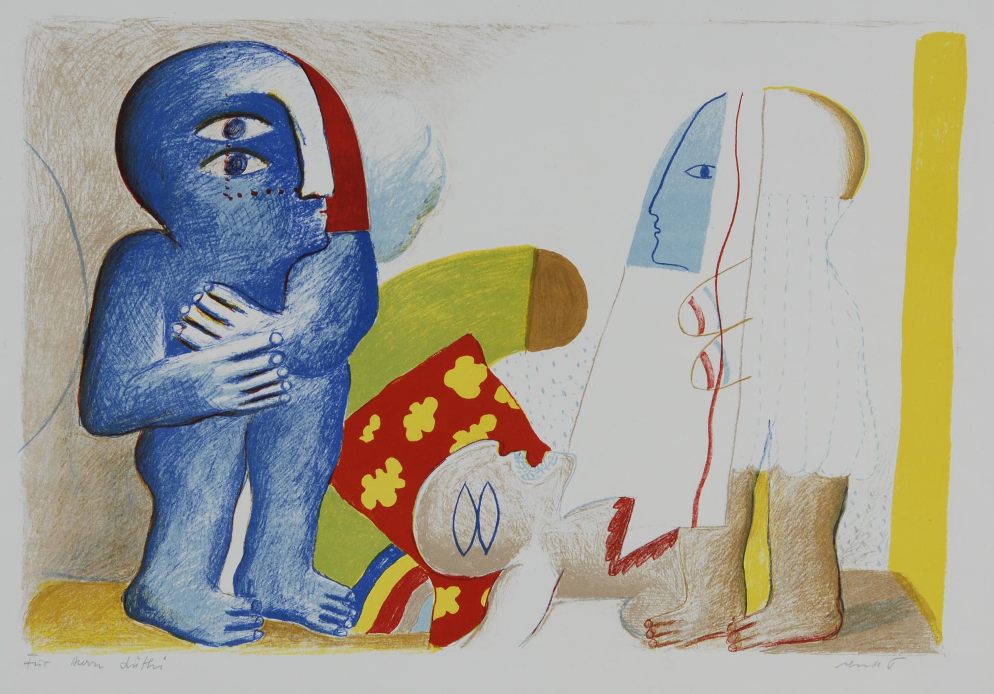 Antes Horst, 3 sheets: Paar mit toter Figur, 1965; Grosses Stilleben mit Kopf, 1965; Hockende Figur im Kasten, 1967