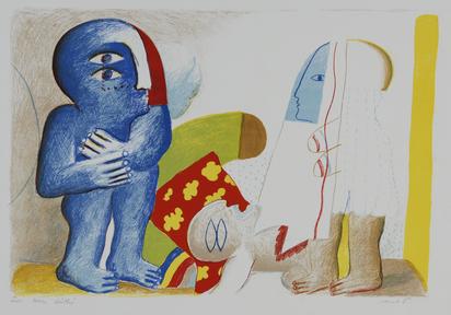 Antes Horst, 3 Blätter: Paar mit toter Figur, 1965; Grosses Stilleben mit Kopf, 1965; Hockende Figur im Kasten, 1967