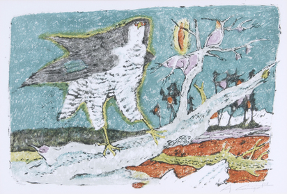 Carigiet Alois, Falke auf Baumstrunk