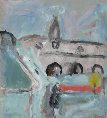 Bollin Eugen, 2 works: Stadtansicht mit Brücke; Engel