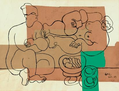 Corbusier Le, Deux féminins, deux tasses à thé et coupe de fruits