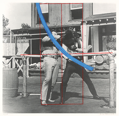 Baldessari John, Blue Masterstroke over Red Diagram and Two Cowboys
