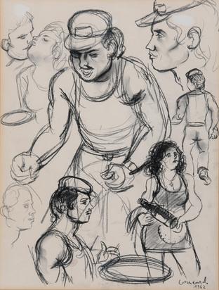 Comensoli Mario, 2 drawings: Study, 1962; Portrait Study, 1983