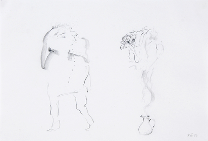 Anonym 20. Jh., 2 drawings: Die Nase frisst, 1969; Untitled