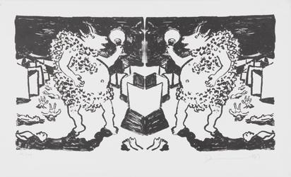 Dürrenmatt Friedrich, 2 sheets: Minotaurus seinem Spiegelbild zuprostend; Steingott