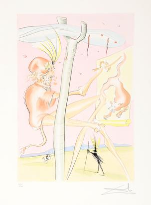 """Dalí Salvador, 5 sheets from """"Le bestiaire de La Fontaine dalinisé"""""""