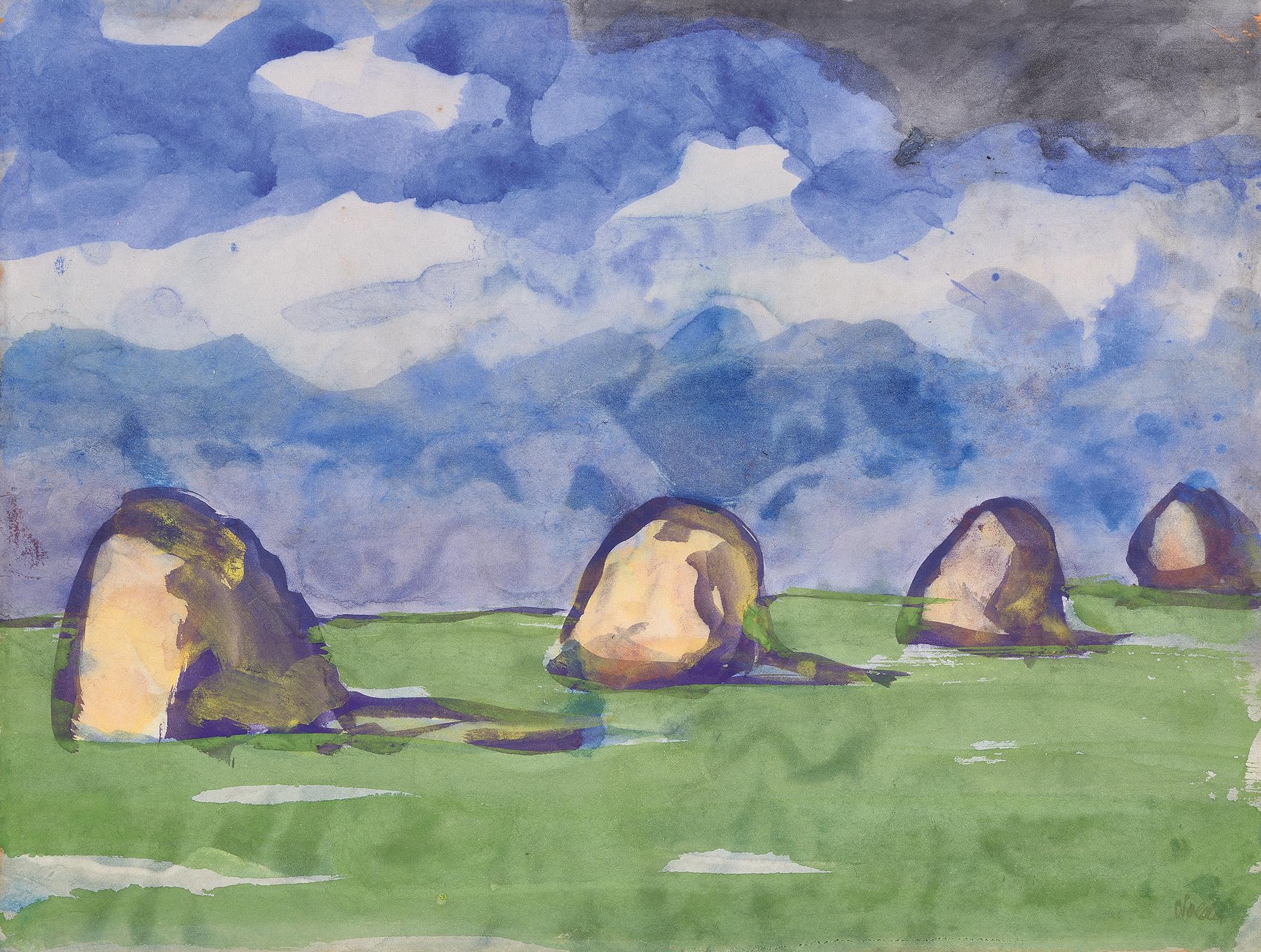 Nolde Emil, Marschlandschaft und Heudiemen unter blauem Himmel