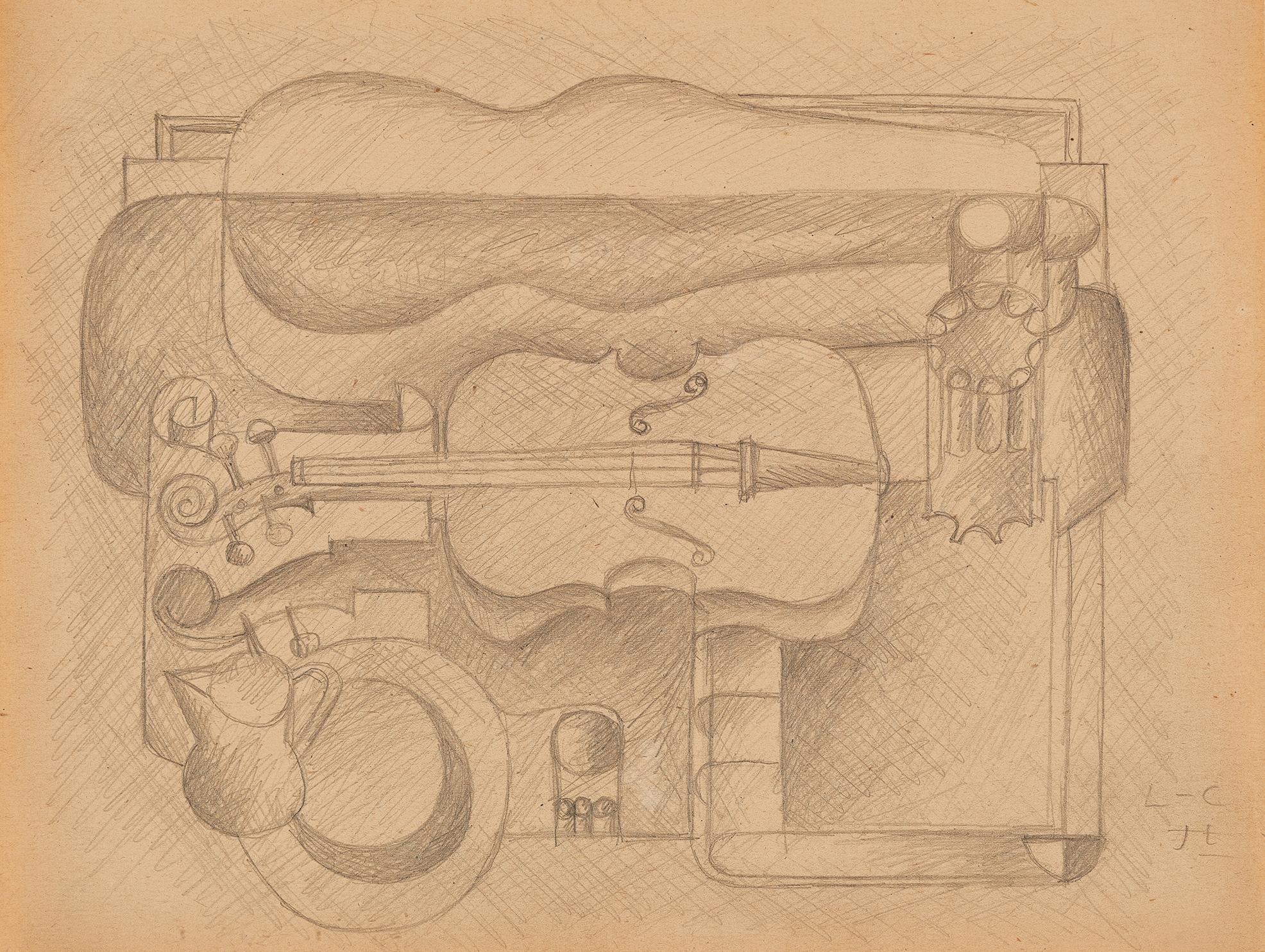Corbusier Le, Dessin d'étude pour violon et boîte à violon
