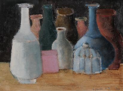 Haefliger Leopold, Still Life with Bottles