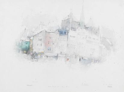 Befelein Alexander, 5 drawings: Quai Wilson; Place Bourg-de-Four I; Place Bourg-de-Four II; La mairie des Eaux-Vives; Place neuve