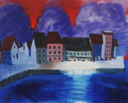 Fries Willy, 2 drawings: Aufgehende Sonne über dem Mohn, 1931; Le Port I Belle-Ile, 1932