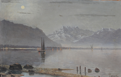 Herzog Arthur Charles Henri, Full Moon over the lake Geneva with Dents du Midi